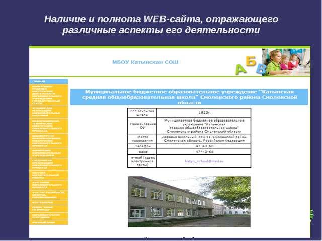 Наличие и полнота WEB-сайта, отражающего различные аспекты его деятельности