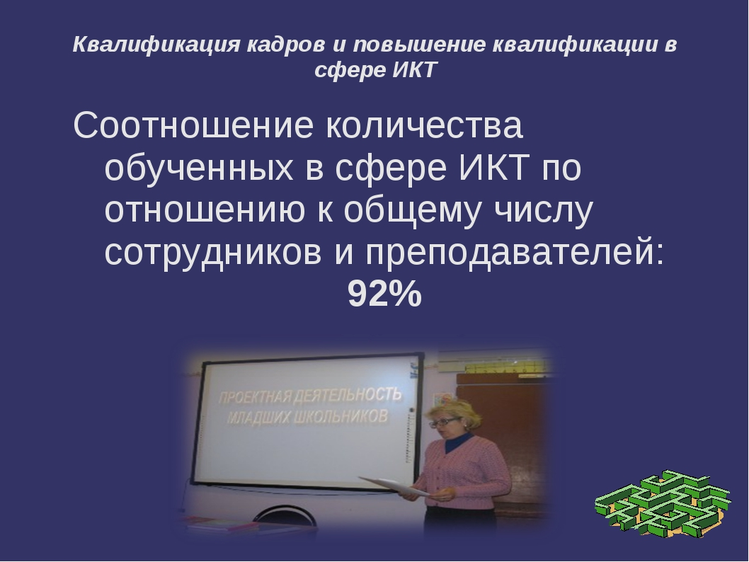 Квалификация кадров и повышение квалификации в сфере ИКТ Соотношение количест...