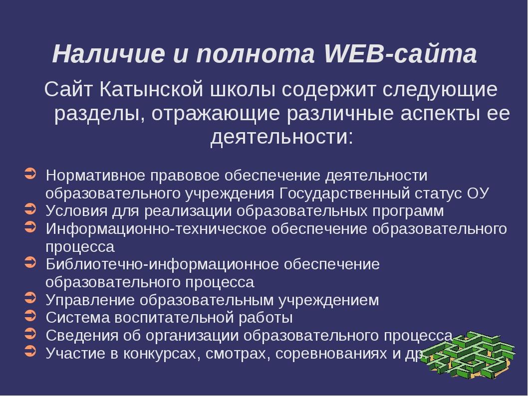 Наличие и полнота WEB-сайта Сайт Катынской школы содержит следующие разделы,...