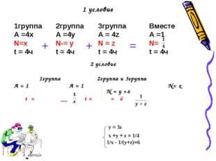1 условие 1группа А =4x N=x t = 4ч 2группа А =4y N-= y t = 4ч 3группа А = 4z