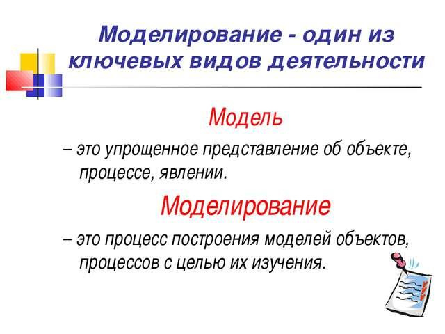 Моделирование - один из ключевых видов деятельности Модель – это упрощенное п...