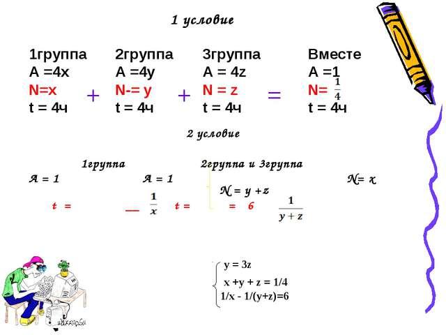 1 условие 1группа А =4x N=x t = 4ч 2группа А =4y N-= y t = 4ч 3группа А = 4z...