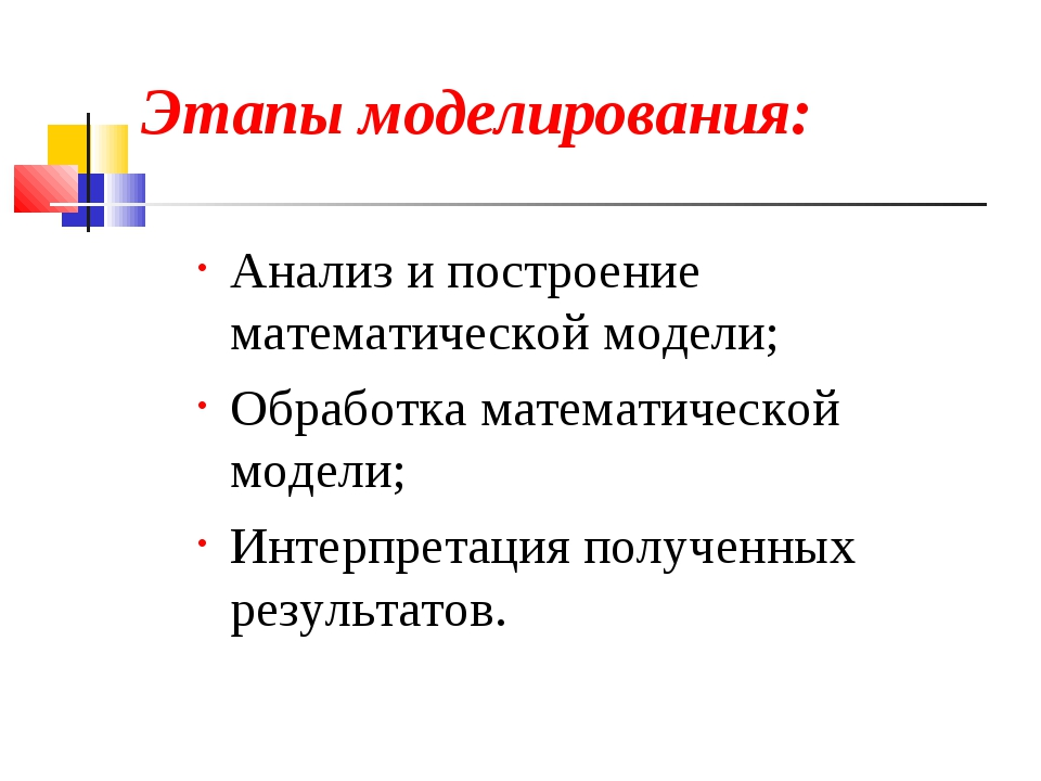 Этапы моделирования: Анализ и построение математической модели; Обработка мат...