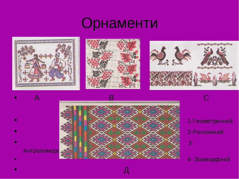 Орнаменти А В С 1-Геометричний 2-Рослинний 3-Антропоморфн. 4- Зооморфний Д