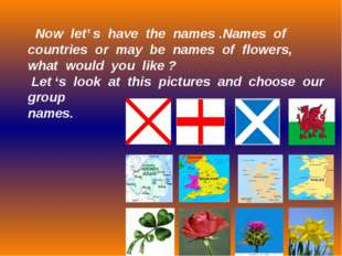 Now let' s have the names .Names of countries or may be names of flowers, wh
