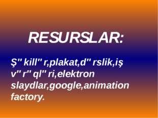 RESURSLAR: Şəkillər,plakat,dərslik,iş vərəqləri,elektron slaydlar,google,anim