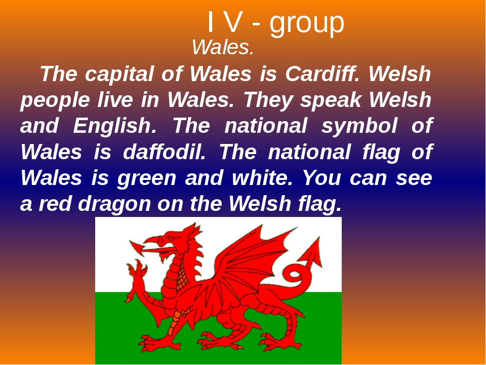 Wales. The capital of Wales is Cardiff. Welsh people live in Wales. They spea...