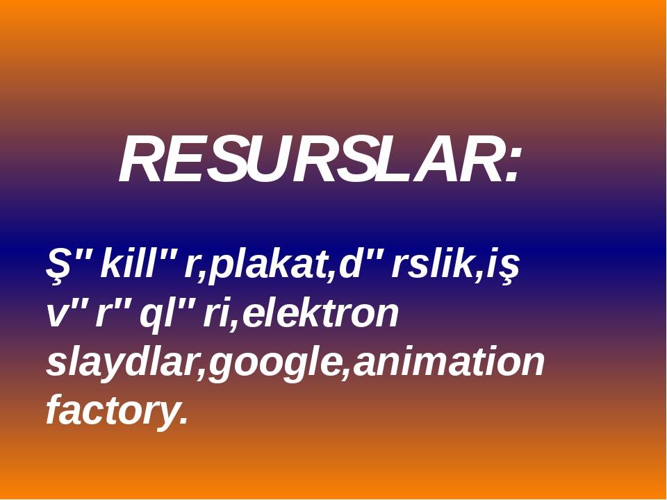 RESURSLAR: Şəkillər,plakat,dərslik,iş vərəqləri,elektron slaydlar,google,anim...