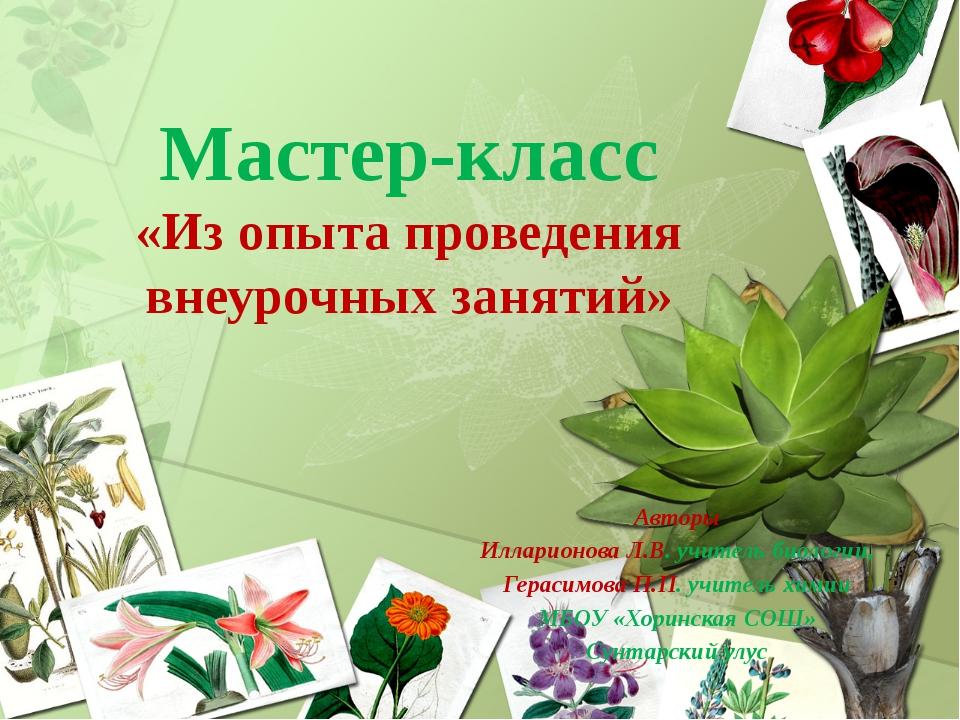 Авторы Илларионова Л.В. учитель биологии, Герасимова П.П. учитель химии МБОУ...
