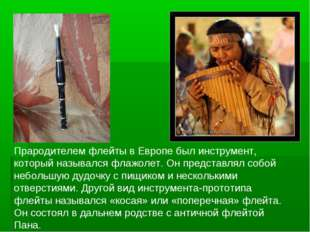 Прародителем флейты в Европе был инструмент, который назывался флажолет. Он