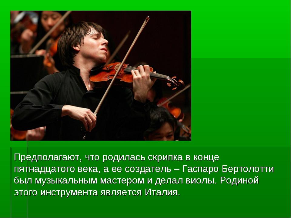 Предполагают, что родилась скрипка в конце пятнадцатого века, а ее создатель...
