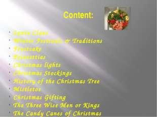 Content: Santa Claus Winter Festivals & Traditions Fruitcake Poinsettias Chri