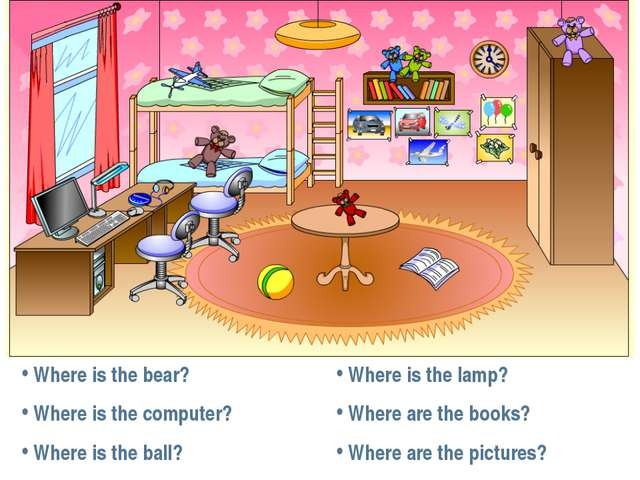 Where is the bear? Where is the computer? Where is the ball? Where is the la...