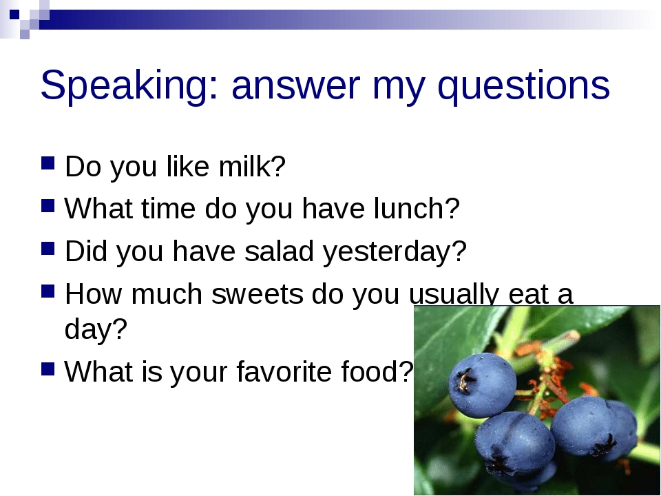 Speaking: answer my questions Do you like milk? What time do you have lunch?...