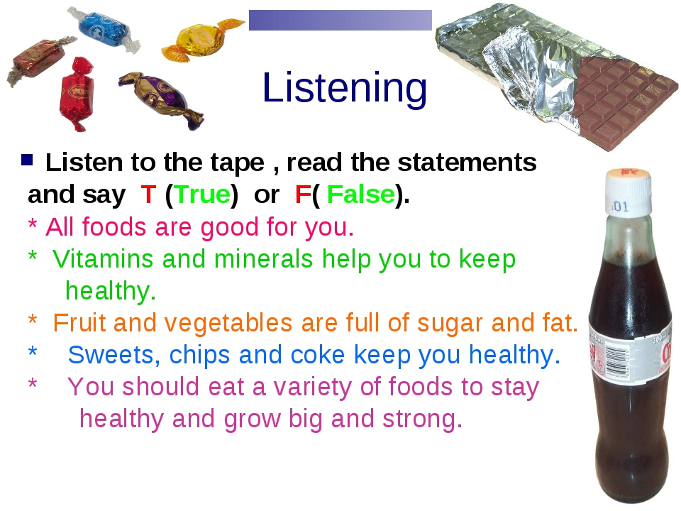 Listening Listen to the tape , read the statements and say T (True) or F( Fa...