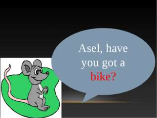 Asel, have you got a bike?