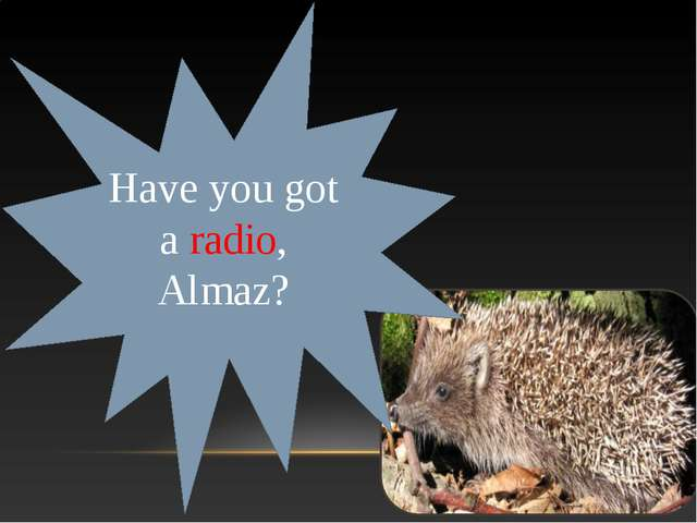Have you got a radio, Almaz?