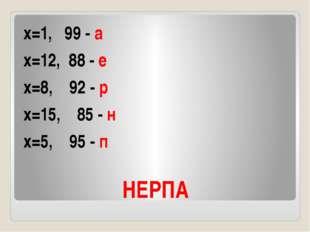 НЕРПА х=1, 99 - а х=12, 88 - е х=8, 92 - р х=15, 85 - н х=5, 95 - п