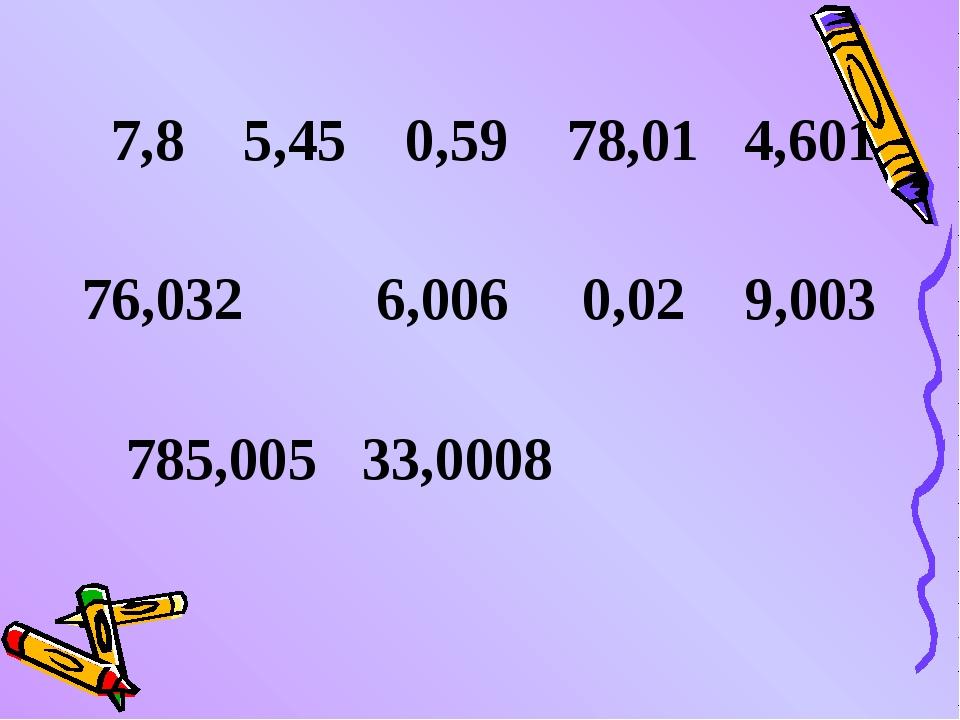 7,8 5,45 0,59 78,01 4,601 76,032 6,006 0,02 9,003 785,005 33,0008
