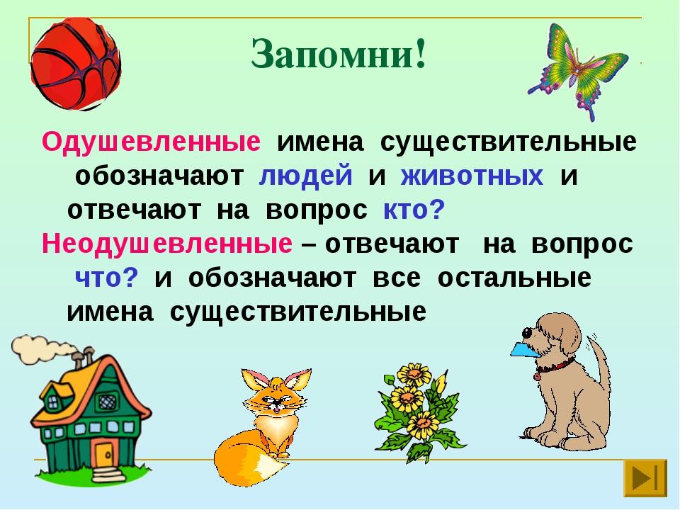 Запомни! Одушевленные имена существительные обозначают людей и животных и отв...