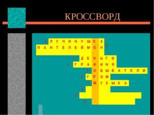 КРОССВОРД 1Л УЧИНУШКА 2 ПАНТЕЛЕЙМОН 3ДЕНЬГИ 4Г