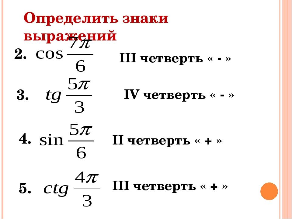 2. Определить знаки выражений 3. 4. 5. III четверть « - » IV четверть « - »...
