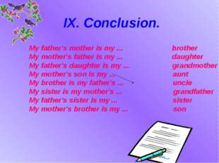 IX. Conclusion. My father's mother is my ... brother My mother's father is my