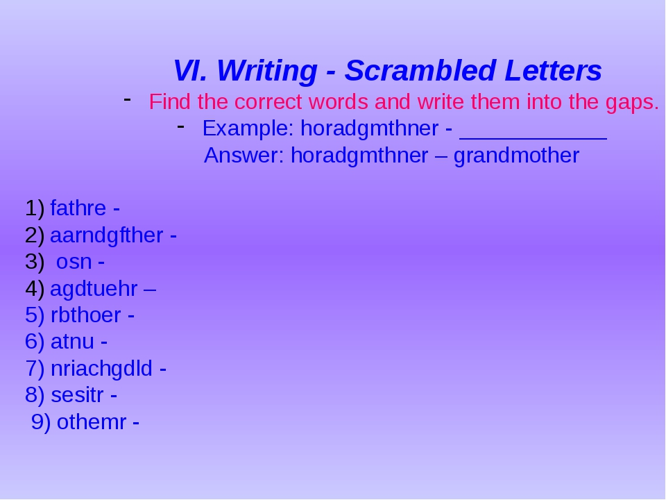 VI. Writing - Scrambled Letters Find the correct words and write them into th...