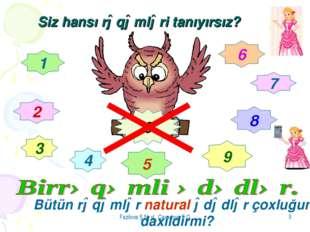 Fazilova Ş.N və Cavadova F.Q * Siz hansı rəqəmləri tanıyırsız? 1 2 3 4 5 6 7
