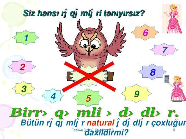 Fazilova Ş.N və Cavadova F.Q * Siz hansı rəqəmləri tanıyırsız? 1 2 3 4 5 6 7...