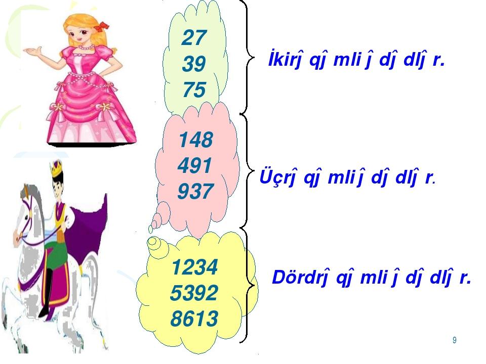 * 27 39 75 İkirəqəmli ədədlər. 148 491 937 Üçrəqəmli ədədlər. 1234 5392 8613...