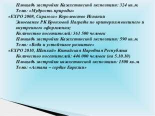 Площадь застройки Казахстанской экспозиции: 324 кв.м. Тема: «Мудрость природы