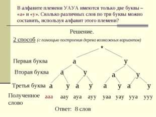 В алфавите племени УАУА имеются только две буквы – «а» и «у». Сколько различн