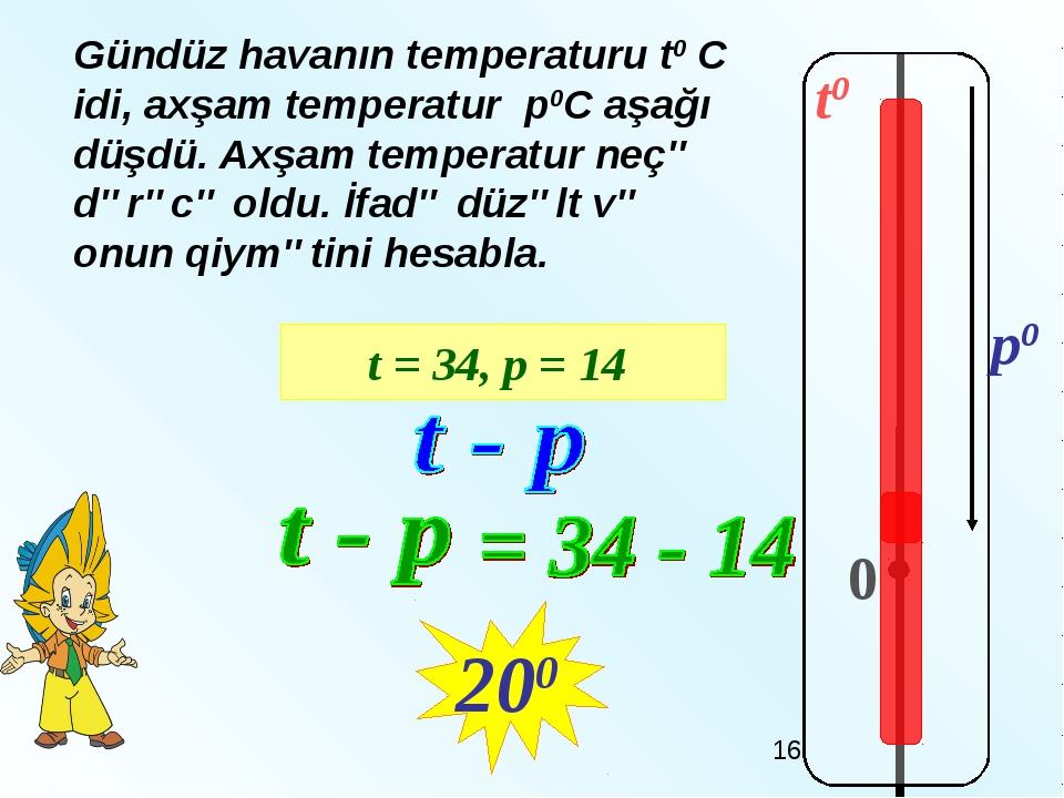 t0 0 p0 Gündüz havanın temperaturu t0 C idi, аxşam temperatur р0С aşağı düşdü...