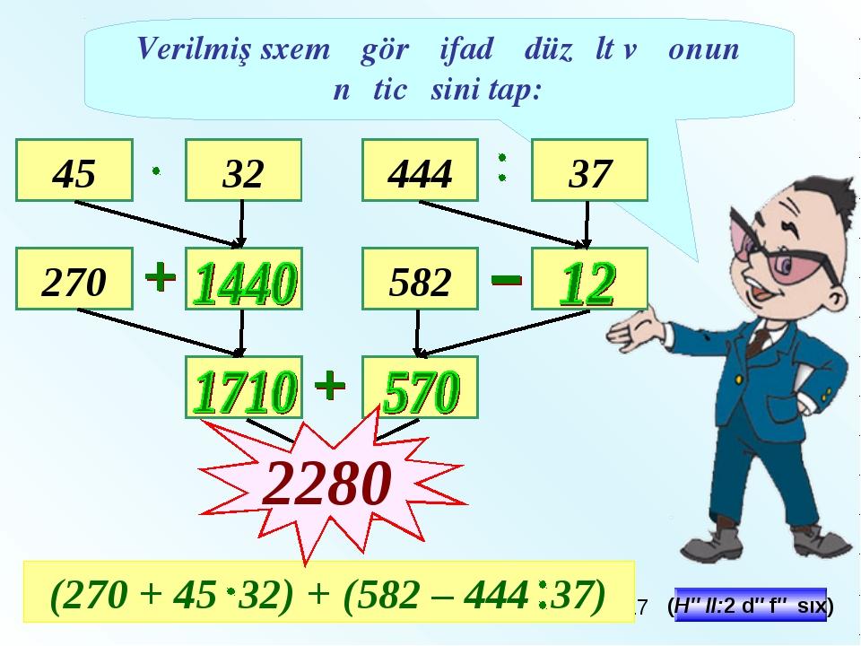 Verilmiş sxemə görə ifadə düzəlt və onun nəticəsini tap: 45 270 32 444 37 582...
