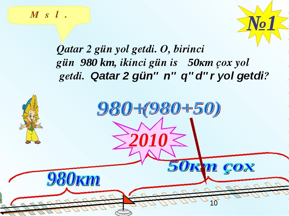 Məsələ. №1 Qatar 2 gün yol getdi. O, birinci gün 980 km, ikinci gün isə 50кm...
