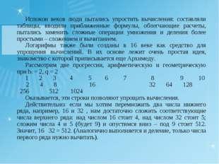 Испокон веков люди пытались упростить вычисления: составляли таблицы, вводили