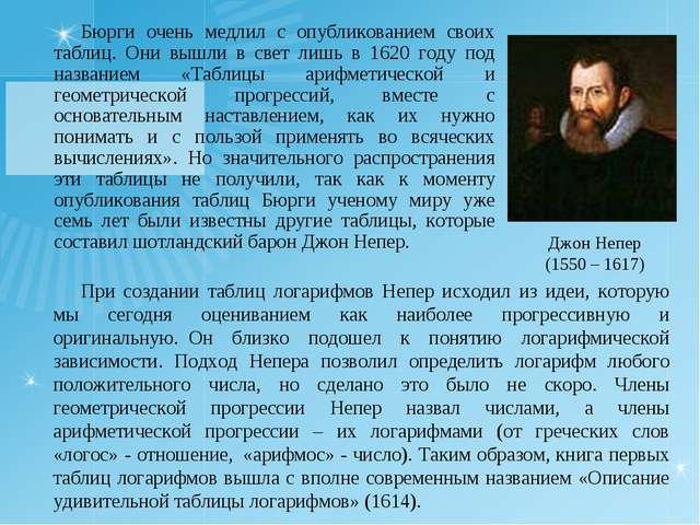 Бюрги очень медлил с опубликованием своих таблиц. Они вышли в свет лишь в 162...