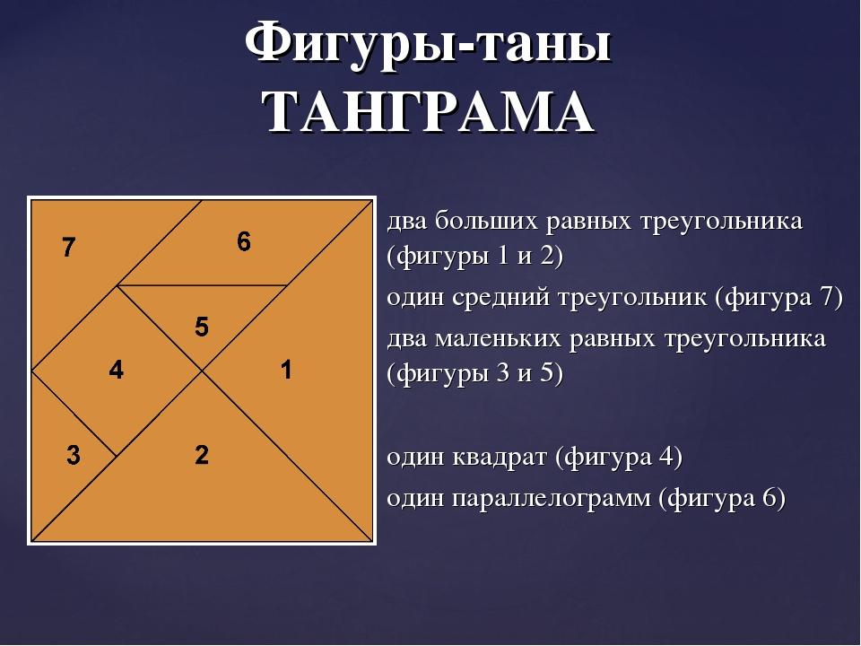 два больших равных треугольника (фигуры 1 и 2) один средний треугольник (фигу...