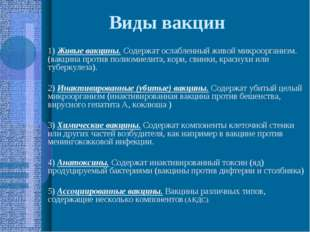 Виды вакцин 1) Живые вакцины. Содержат ослабленный живой микроорганизм. (вакц