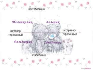 Меланхолик Холерик Флегматик Сангвиник нестабильный стабильный интровер- тиро