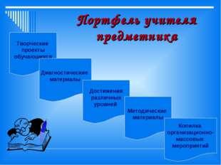 Портфель учителя предметника Творческие проекты обучающихся Диагностические м