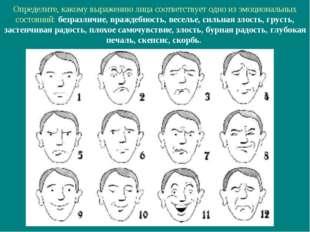Определите, какому выражению лица соответствует одно из эмоциональных состоян