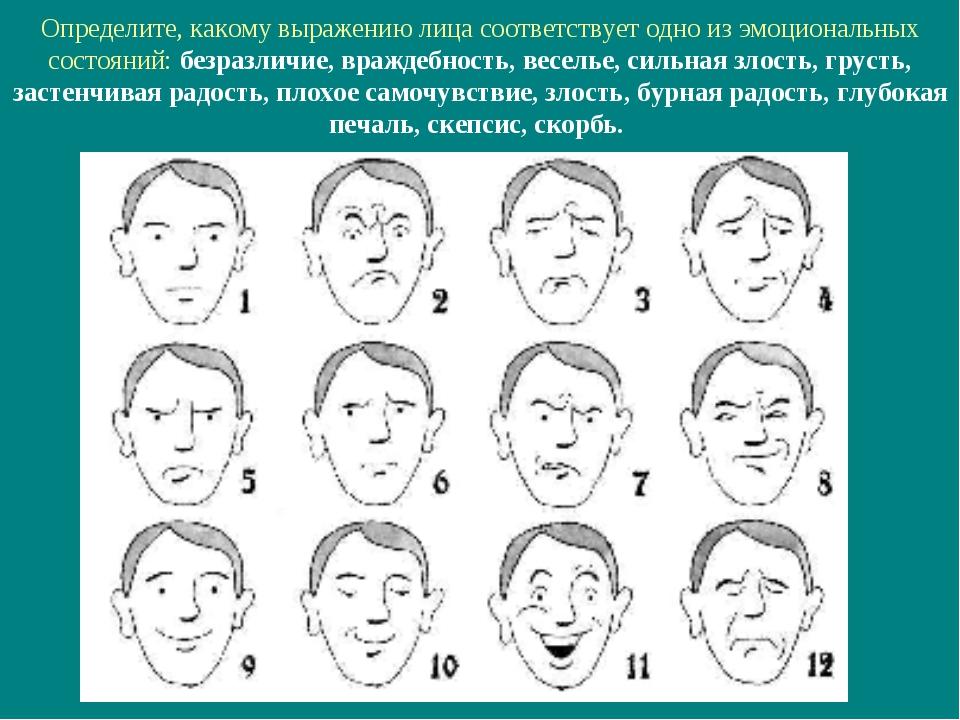 Определите, какому выражению лица соответствует одно из эмоциональных состоян...