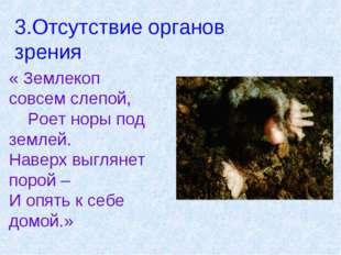 3.Отсутствие органов зрения « Землекоп совсем слепой, Роет норы под землей. Н