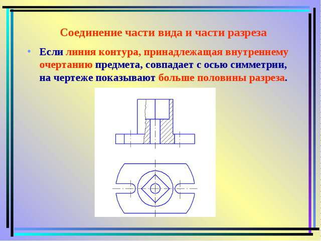 Соединение части вида и части разреза Если линия контура, принадлежащая внутр...