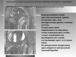 Конструктивную основу крестово-купольных храмов составляет трех- или пятипрол