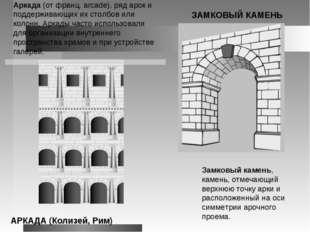 Аркада (от франц. arcade), ряд арок и поддерживающих их столбов или колонн. А