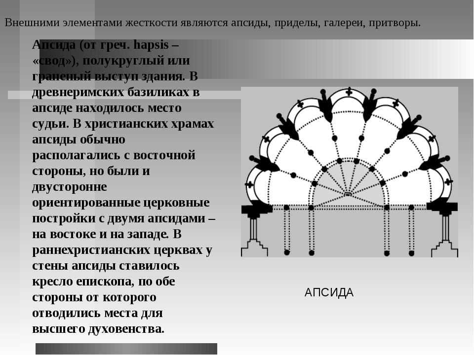 Апсида (от греч. hapsis – «свод»), полукруглый или граненый выступ здания. В...
