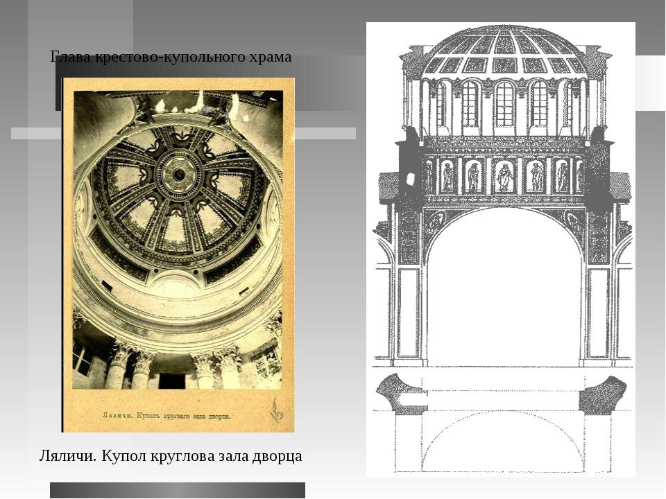 Глава крестово-купольного храма Ляличи. Купол круглова зала дворца